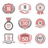 Anniversary label set Royalty Free Stock Images