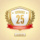 Anniversary label shield. Anniversary 25 celebration golden label shield vector illustration Stock Photos