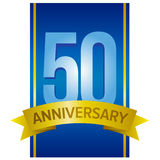 50 anniversary label. Vector label for 50th anniversary with large digits on blue background with some golden elements.n Stock Image