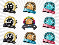 Anniversary labels. Color anniversary labels collection Stock Photography