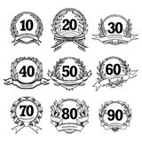 Anniversary Labels Set Royalty Free Stock Photo