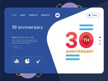 30 anniversary Landing page website template design. Quality One Page 30 anniversary Website Template Vector Eps, Modern Web Design with flat UI elements and Royalty Free Stock Images
