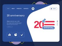 20 anniversary Landing page website template design. Quality One Page 20 anniversary Website Template Vector Eps, Modern Web Design with flat UI elements and Stock Photos