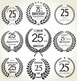 Anniversary laurel wreath collection, 25 years. Anniversary label collection, 25 years isolated on white background Royalty Free Stock Photos