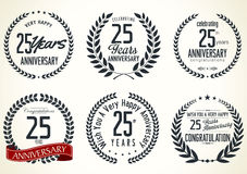 Anniversary laurel wreath collection, 25 years. Anniversary label collection, 25 years isolated on white background Stock Images