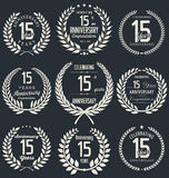 Anniversary laurel wreath collection, 15 years. Anniversary retro laurel wreath  collection, 15 years Royalty Free Stock Images