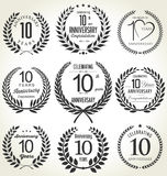 Anniversary laurel wreath design, 10 years Stock Images