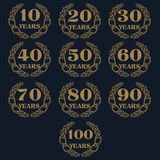 10-100 anniversary laurel wreath icon. Royalty Free Stock Photo