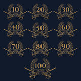 10-100 anniversary laurel wreath icon. Royalty Free Stock Images