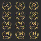5-115 anniversary laurel wreath. 5-115 anniversary label with laurel wreath. Celebration and congratulation design template. Vector congratulation design Royalty Free Stock Photography