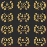 5-115 anniversary laurel wreath. 5-115 anniversary label with laurel wreath. Celebration and congratulation design template. Vector congratulation design Stock Photo