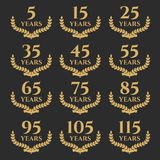 5-115 anniversary laurel wreath. 5-115 anniversary label with laurel wreath. Celebration and congratulation design template. Vector congratulation design Royalty Free Stock Images
