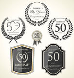 Anniversary laurel wreath and shields Royalty Free Stock Images