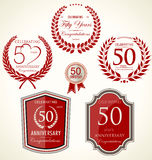 Anniversary laurel wreath and shields Royalty Free Stock Photos