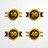 Anniversary logo badge with ribbon vector design. Set of shiny gold black medal button with numbers for birthday celebration stock illustration