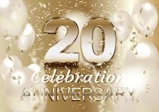 20 Anniversary Logo Celebration with balloon and confetti, Isolated on light Background. Vector royalty free illustration