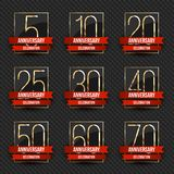 Anniversary logo`s collection. 5th, 10th, 20th, 25th, 30th, 40th, 50th, 60th, 70th year celebration gold logotypes. Anniversary logo`s collection. Vector Stock Photography