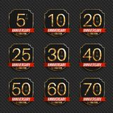 Anniversary logo`s collection. 5th, 10th, 20th, 25th, 30th, 40th, 50th, 60th, 70th year celebration gold logotypes. Anniversary logo`s collection. Vector Stock Photos