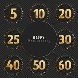 Anniversary logo`s collection. 5th, 10th, 20th, 25th, 30th, 40th, 50th, 60th year celebration gold logotypes. Anniversary logo`s collection. Vector illustration Royalty Free Stock Image