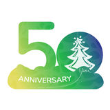 Anniversary logo 50 year. Green icon Stock Photos