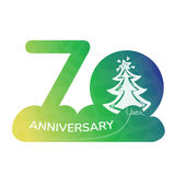 Anniversary logo 70 year. Green icon Royalty Free Stock Photos