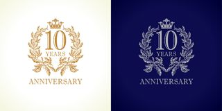 10 anniversary luxury logo. Stock Photo