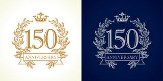 150 anniversary luxury logo. 150 years old luxurious logotype. Congratulating 150th numbers gold colored template framed in palms. Isolated greetings celebrates vector illustration