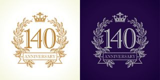 140 anniversary luxury logo. 140 years old luxurious logotype. Congratulating 140th numbers gold colored template framed in palms. Isolated greetings celebrates vector illustration
