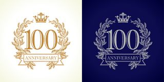 100 anniversary luxury logo. 100 years old luxurious logotype. Congratulating 100th numbers gold colored template framed in palms. Isolated greetings celebrates stock illustration