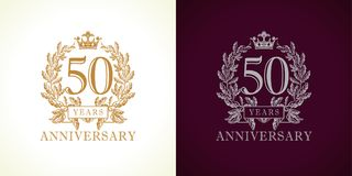 50 anniversary luxury logo. Royalty Free Stock Images