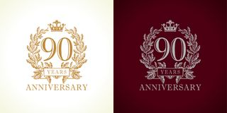 90 anniversary luxury logo. Stock Photos