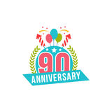 Anniversary ninety years number. 90th years festive Logo and greeting for invitation decor. Flat style vector congratulations isolated on white background stock illustration