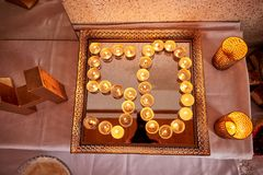 50 number by candles. 50 anniversary number by candles royalty free stock photography