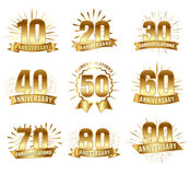 Anniversary numbers in gold. Birthday or marriage event decoration, party and card festive element. Vector flat style illustration isolated on white background Royalty Free Stock Photo