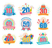 Anniversary numbers set. Festive compositions and greeting, with firework and stars for poster and card decor. Flat style vector illustration isolated on white Stock Photos