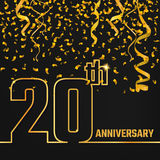 Anniversary Outline gold A. Vector Illustration of Anniversary 20th Outline for Design, Website, Background, Banner. Jubilee silhouette Element Template for Royalty Free Stock Photography