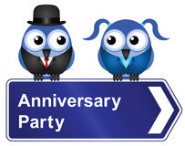 Anniversary party. Comical anniversary party sign isolated on white background Stock Photography