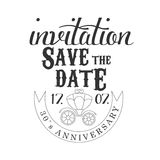 Anniversary Party Black And White Invitation Card Design Template With Calligraphic Text And Carriage Stock Images
