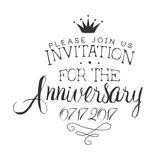 Anniversary Party Black And White Invitation Card Design Template With Calligraphic Text Stock Photo