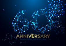 Anniversary 60. polygonal Anniversary greeting banner. Celebrating 60th anniversary event party. Vector fireworks. Low polygon vector illustration