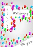 Anniversary poster, 100 years. Anniversary poster with balloons and wish for 100 years anniversary Royalty Free Stock Photo