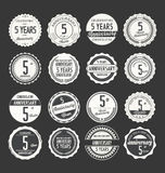 Anniversary retro badge collection, 5 years. Isolated on black background Royalty Free Stock Photo