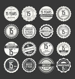 Anniversary retro badge collection, 15 years. Isolated on black background Royalty Free Stock Photos