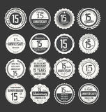 Anniversary retro badge collection, 15 years. Isolated on black background Stock Photos