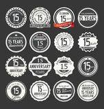 Anniversary retro badge collection, 15 years. Isolated on black background Royalty Free Stock Photo