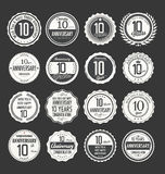 Anniversary retro badge collection, 10 years Stock Photography