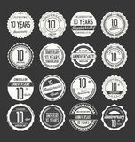Anniversary retro badge collection, 10 years. Isolated on black background Royalty Free Stock Photography