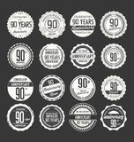 Anniversary retro badge collection, 90 years. Isolated on black background Royalty Free Stock Images