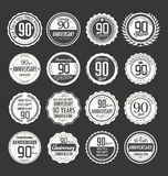 Anniversary retro badge collection, 90 years. Isolated on black background Royalty Free Stock Image