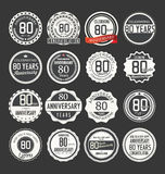 Anniversary retro badge collection, 80 years. Isolated on black background Stock Photography